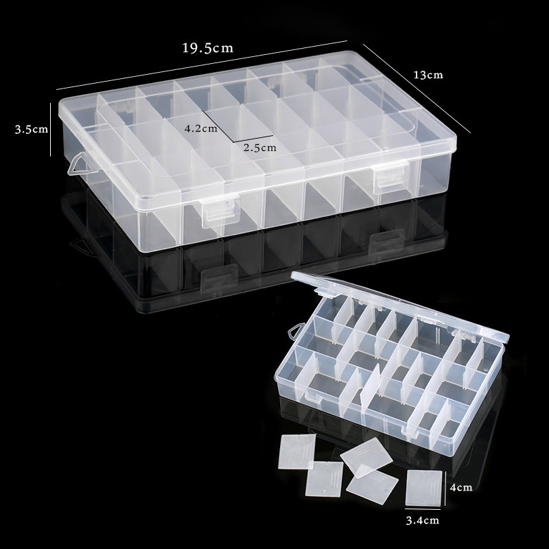 Mixed sizes Plastic Storage Jewelry Box Compartment Adjustable Container earring box jewelry Box Case for Jewelry display