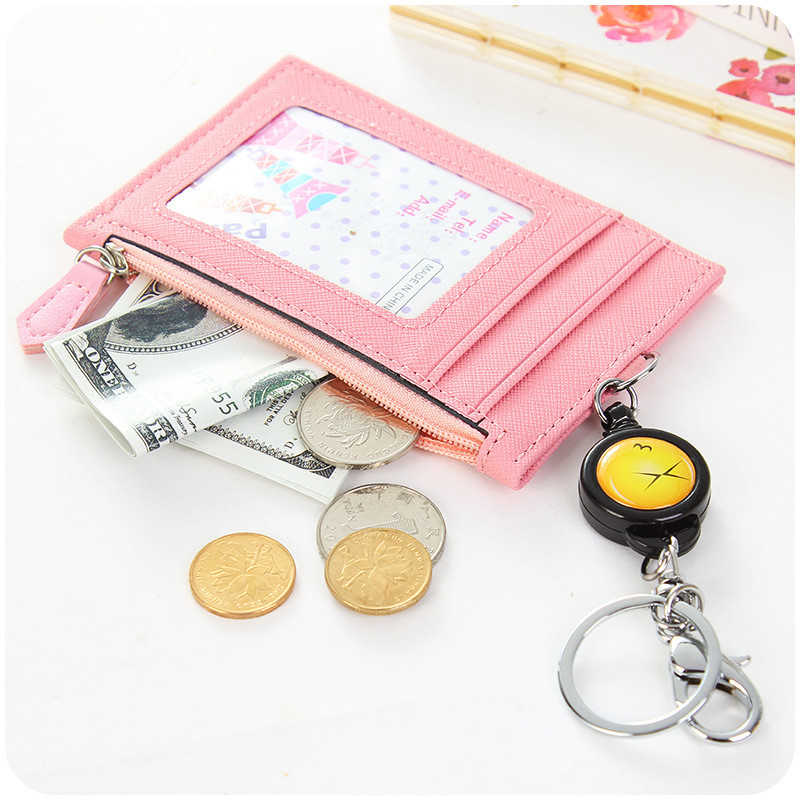 Retractable Card Holder Women Business Credit Card Cover For Kids Soild PU Leather ID Badge Cards Case Key Chain Bag Pendant