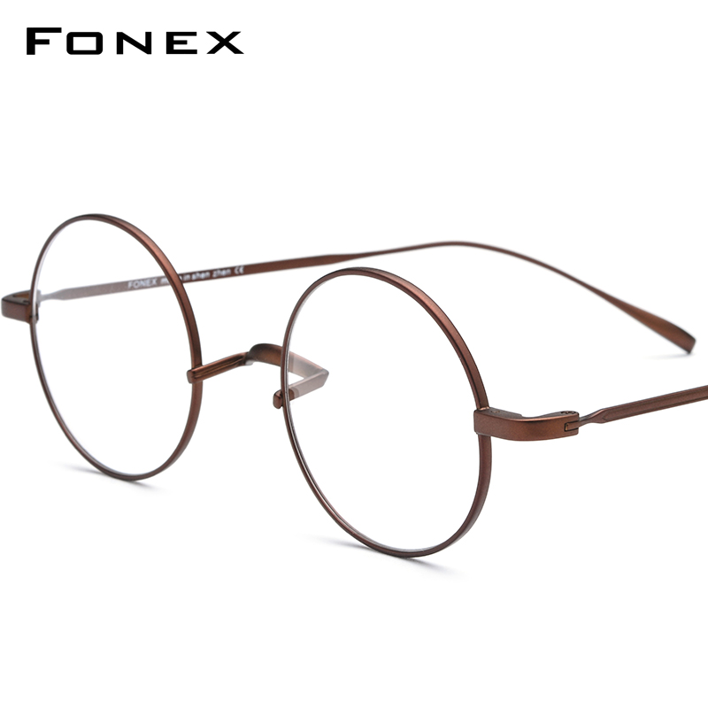 FONEX Titanium Glasses Frame Men Ultralight Round Myopia Optical Prescription Eyeglasses Frames Women Vintage Eyewear 9120