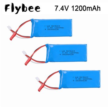 For WLtoys V353 V666 7.4V Lipo Battery 2S 1200mAh 7.4V 30C Lipo Battery For Yi zhang X6 H16 MJX X101 X102 RC Drone Accessories image