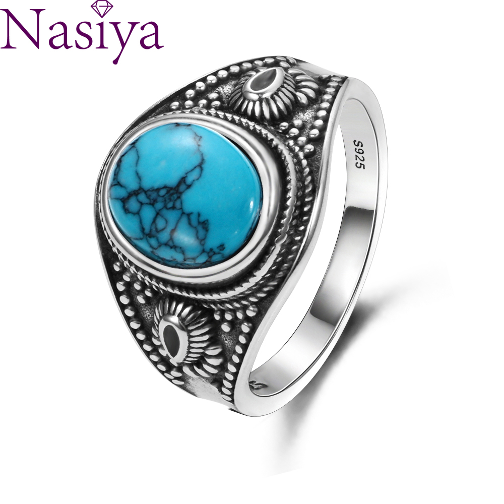 925 Sterling Silver Jewelry  Retro Oval Ring Men Women Natural Turquoise 8x10MM Gift Wholesale Party Wedding