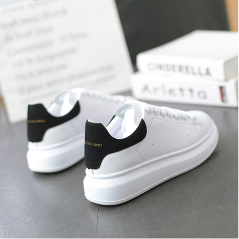 New 2019 Men's White Sneakers Women's Fashion Vulcanize Shoes Size 35-44 High Quality HIP HOP Shoes Platform Lace-up Running Sho
