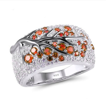 Top Quality cute Wedding 925 Sterling silver Ring Women rose red CZ Leaf Tree Trendy Party Finger Ring  stamp Wedding Jewelry 2