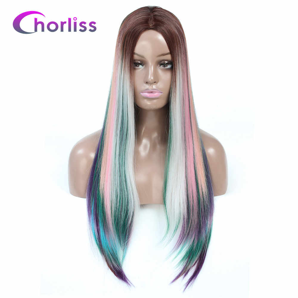 Ombre Synthetic Wig Long Straight Middle Part Wigs For Women Chorliss Dark Root Meek Black Natural Blonde Pink Blue Cosplay Wig