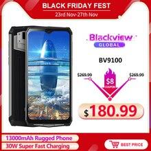 Blackview bv9100 6.3 fffhd + 13000mah ip68 áspero smartphone 4gb 64gb helio p35 octa núcleo android9.0 celular 30w carga rápida