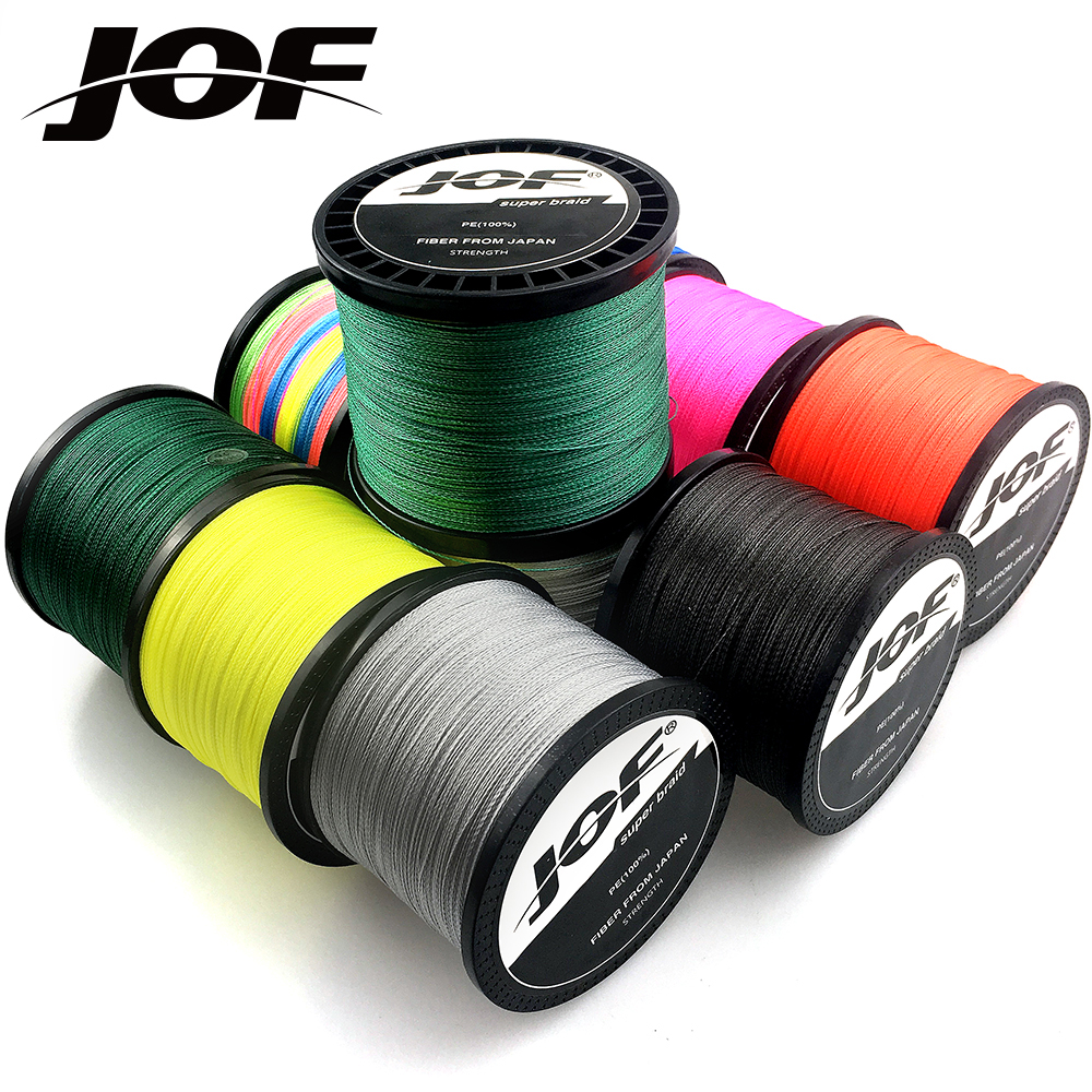 JOF PE Braided Wire Fishing Line 1000M 500M 4 Strands 0.10mm-0.70mm 10LB-120LB Japan Strong Multifilament Fiber Fishing Line
