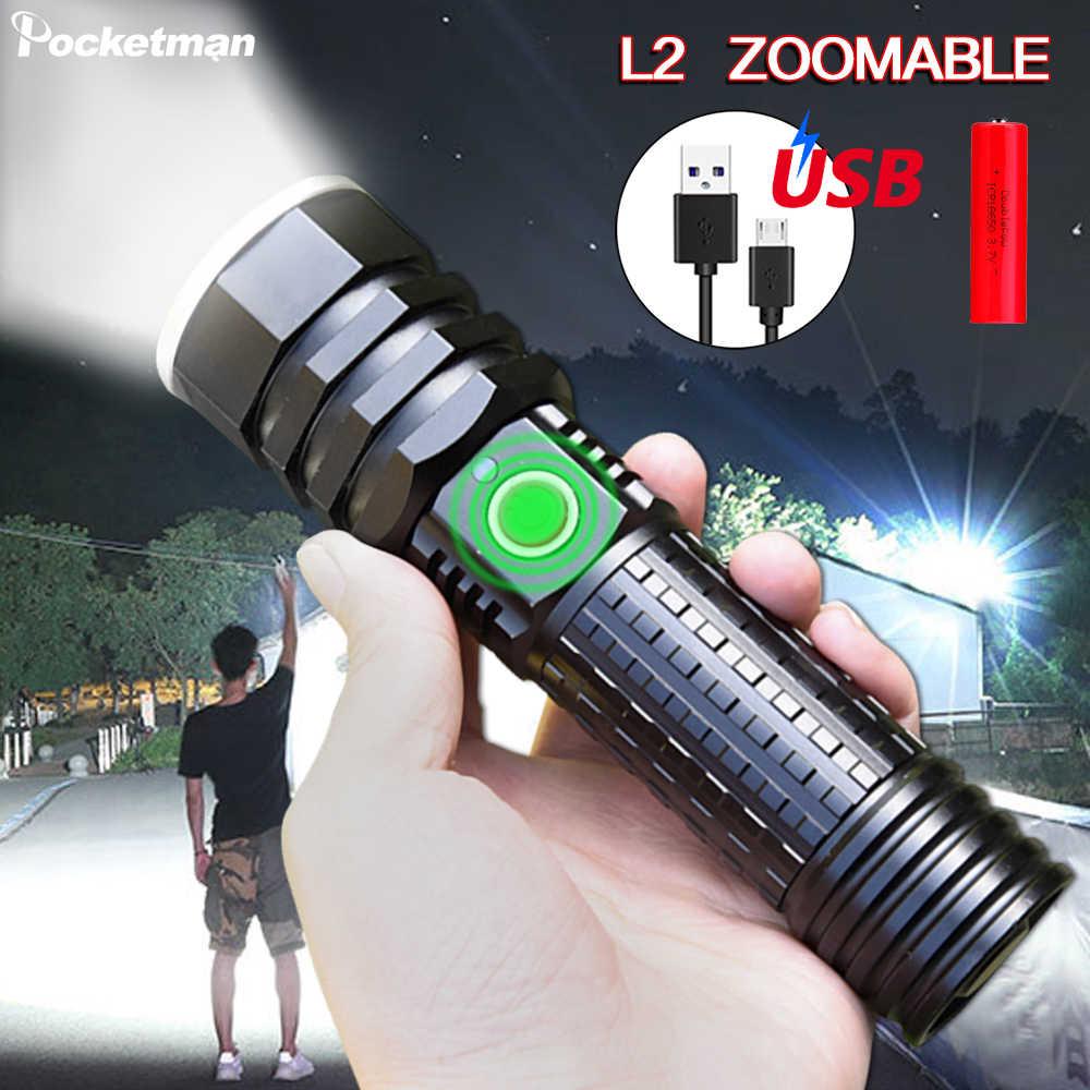 Linterna Led súper brillante de 18650 LM, Linterna recargable de Flash USB, Linterna con zoom, Linterna impermeable para bicicleta o 26650