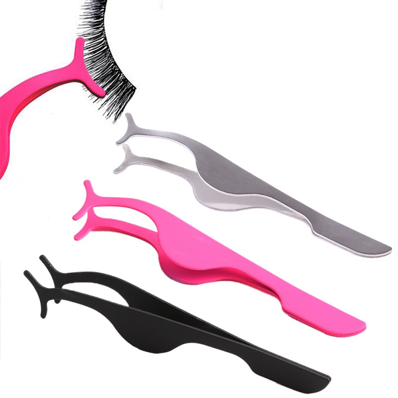 Hot False Eyelash Tweezers Fake Eye Lash Applicator Eyelash Extension Curler Nipper Auxiliary Clip Clamp Makeup Forceps Tools