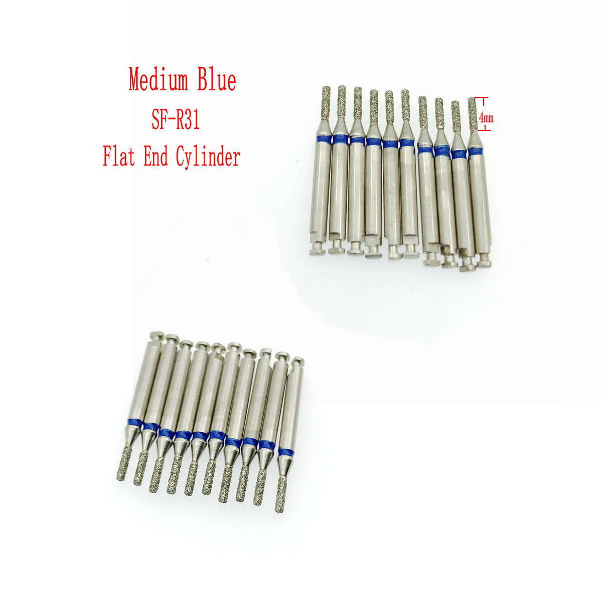 Low Speed Dental Diamond Burs For RA 2.35mm Shank Handpiece Polisher Trimming Flat End Cylinder Head Clinic Drill 10Pcs