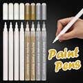 Biały marker z farbą, 0.8mm akrylowy biały złoty srebrny mazak permanentny długopisy do drewna Rock plastikowy szklany kamień Metal Canvas 8 Pack