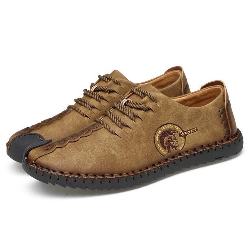 2019 Zomer Lederen Casual Schoenen Mannen Handgemaakte Vintage Schoenen Flats Lace-up Hot Koop Mocassins Chaussure Homme Big Size 38-46