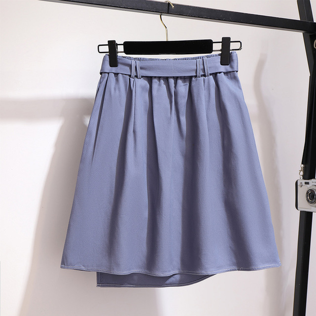 2019 autumn winter plus size mini skirt for women large casual loose elastic waist short skirts belt blue 3XL 4XL 5XL 6XL 7XL 3