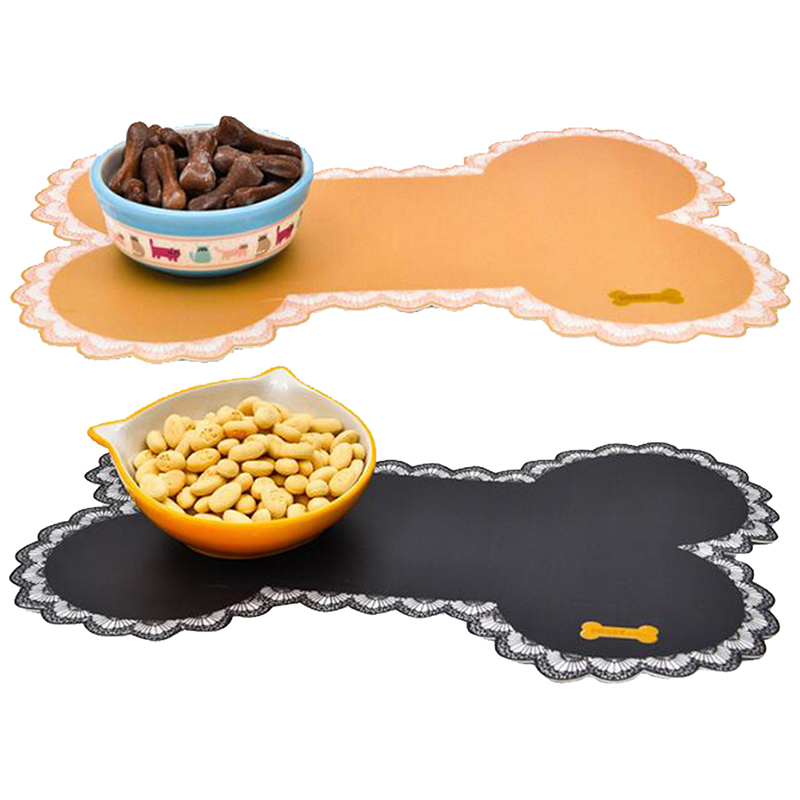 Easy Wipe Cleaning Pet Dogs Cats Bowl Mat Pad Pet Supplies Cute Bone Shape Food Contaier Water Bottle Feeding Placemat Puppy Bed