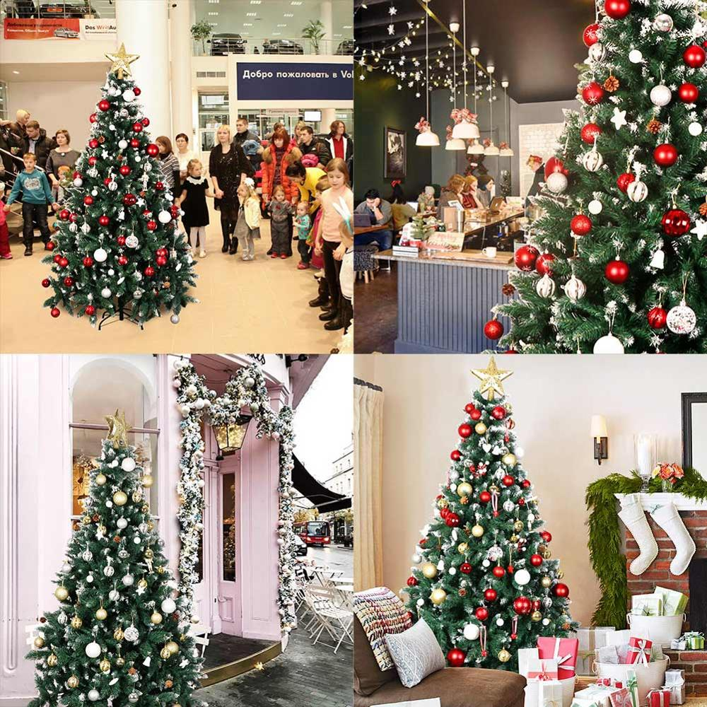 Image 2 - OurWarm 6ft Fake Artificial Flocked Christmas Tree with Snow Strong Metal Stand Christmas Decorations for Home Fire PreventionTrees   -