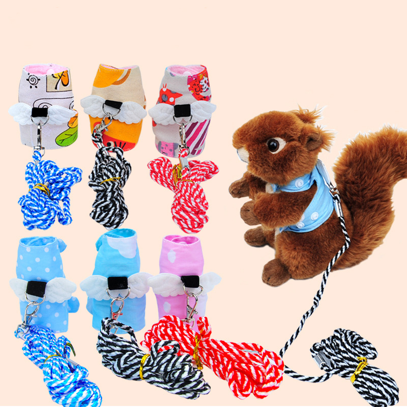1pc Cartoon Cotton Small Pet Button Style Leashes Squirrel Guinea Pig Rabbit Mink Outdoor Walking Traction Rope Harnesses Belt