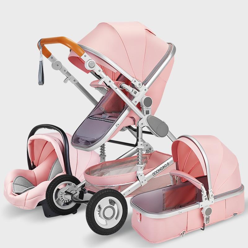 Poussette rose 3 en 1 pour bébé paysage haut, poussette de voyage de luxe, porte-bébé, siège de voiture à poussette
