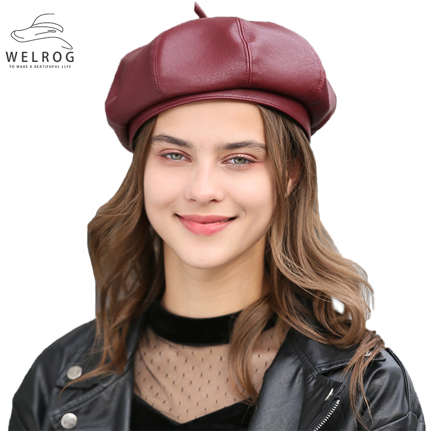 WELROG PU Leather Berets Spring British Octagonal Hat Women Girls Beanie Hat Solid Color Painter Hat Fashion Wild Newsboy Caps