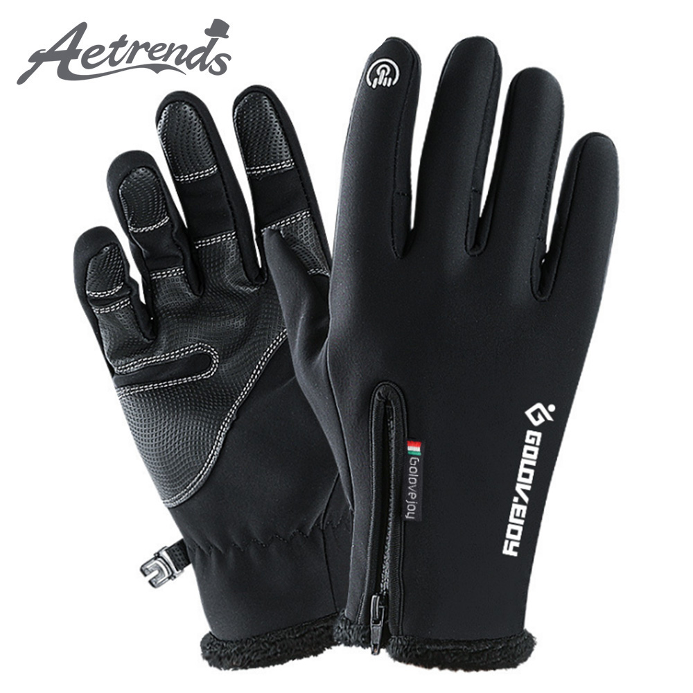 [AETRENDS] Touchscreen Gloves Winter Waterproof Windproof Thermal Gloves With Fleece Lining For Cycling Biking Driving O-0014