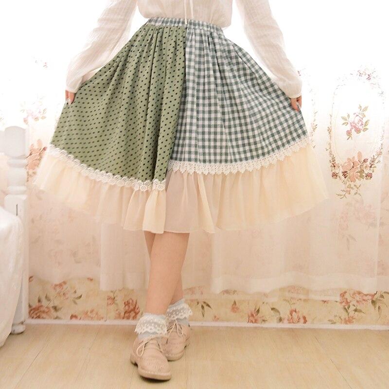 Japonais Mori fille Lolita Vintage rétro Hippie Boho broderie dentelle à volants Plaid Patchwork Crochet coton lin femmes automne jupe