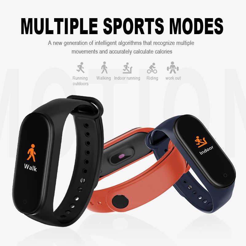 Gejian m4 banda inteligente rastreador de fitness relógio esporte pulseira freqüência cardíaca monitor de pressão arterial smartband saúde