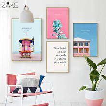 Beach Towel Flamingo Leaf House Wall Art Posters and Prints Nordic Canvas Painting Decoration Picture for Living Room