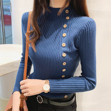 Women's Sweaters Knitting Shirts Female Casual Slim Elastic Soild Knitted Bottoming Shirts 2019 New Autumn Winter Pullover Tops(China)
