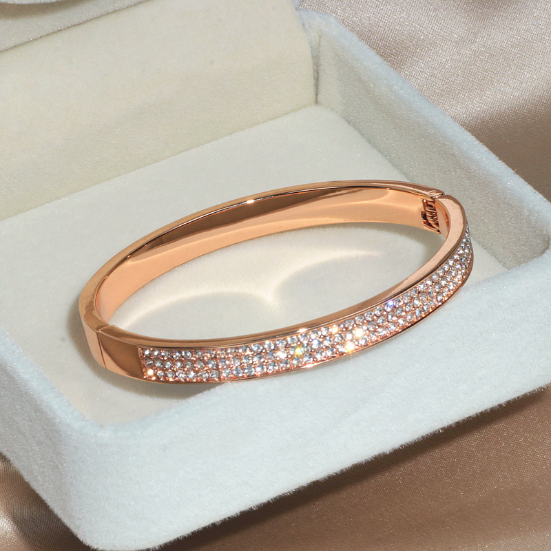 Elegant Classic Crystal Cuff Bangles Bracelets For Women Gold Color Simple Femal Opening Bangles Wedding Jewelry Accessories 1