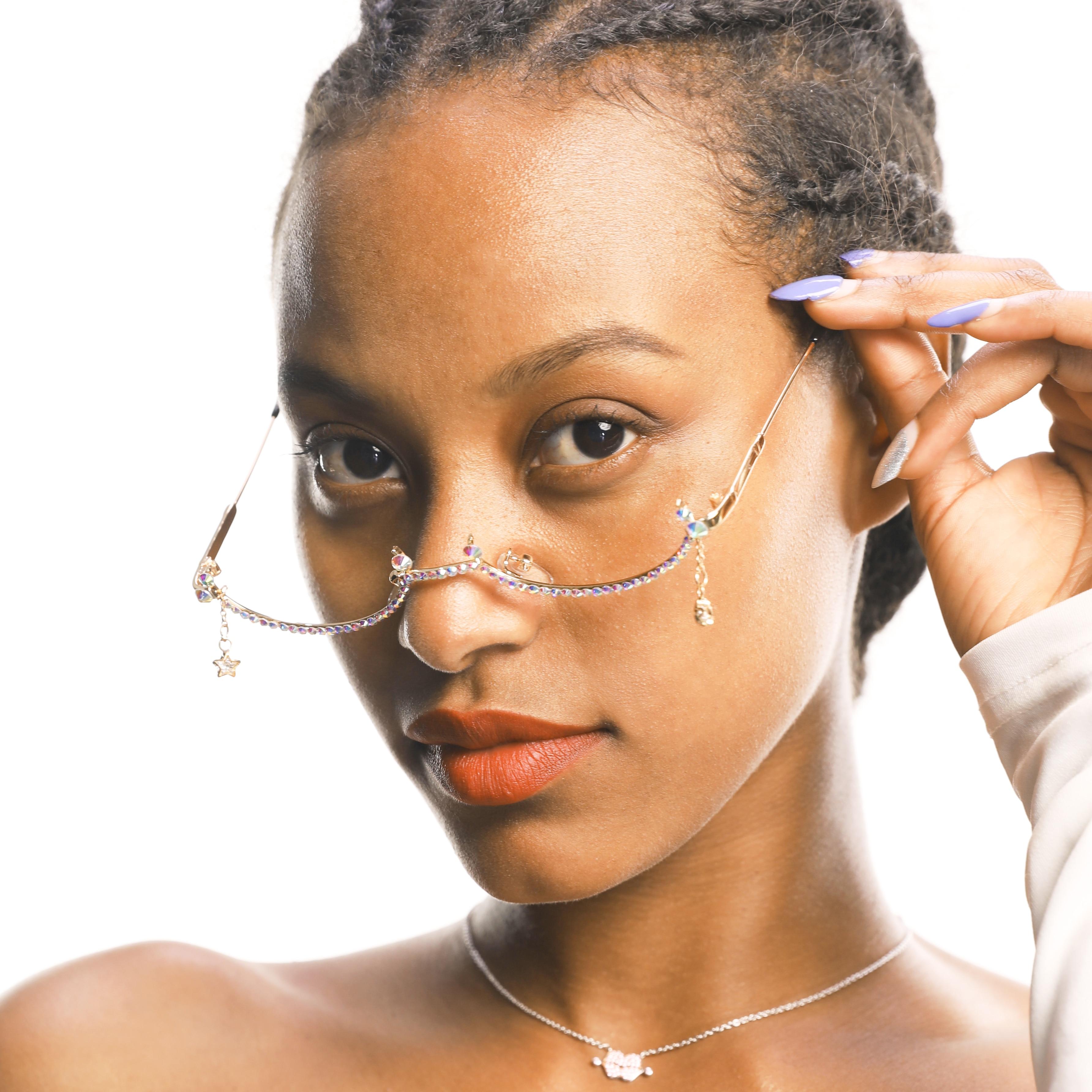 2019 Fashion Eyeglasses Alloy Frame For Women Water Drop Lensless Chain Pendant Decoration Half Frame Luxury Diamond Glasses