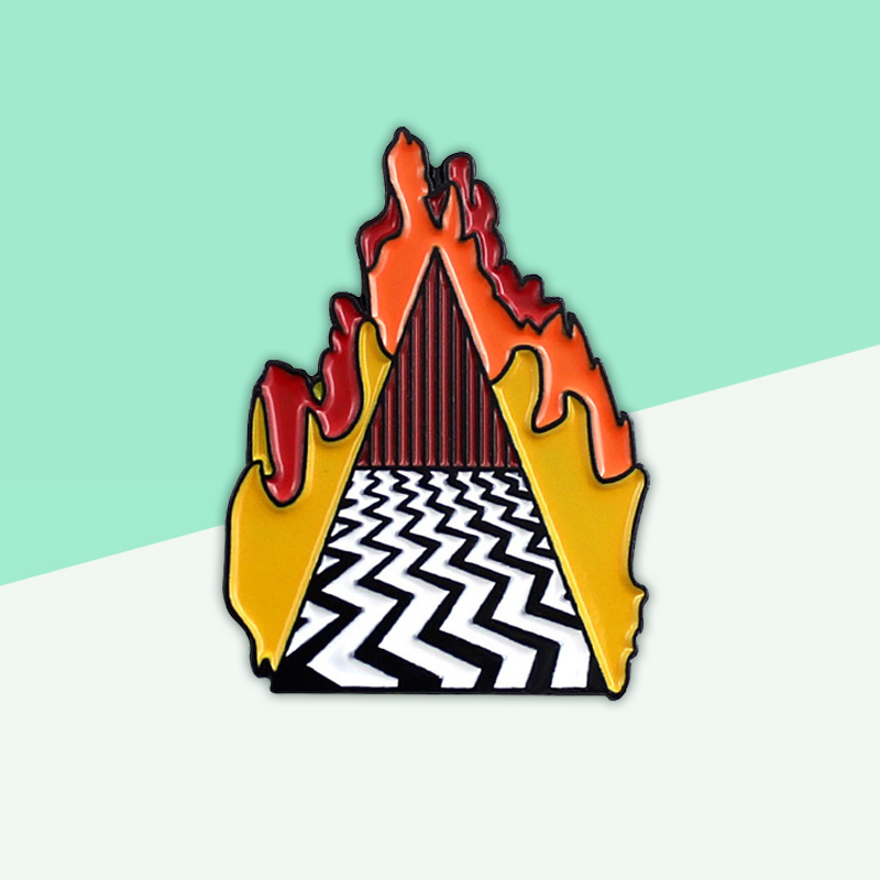 Twins Peak Flame Dougie Jones Enamel Pins Lucky Punk Jewelry Clothes Accessories Featuring Red Room Denim Metal Badge Brooch