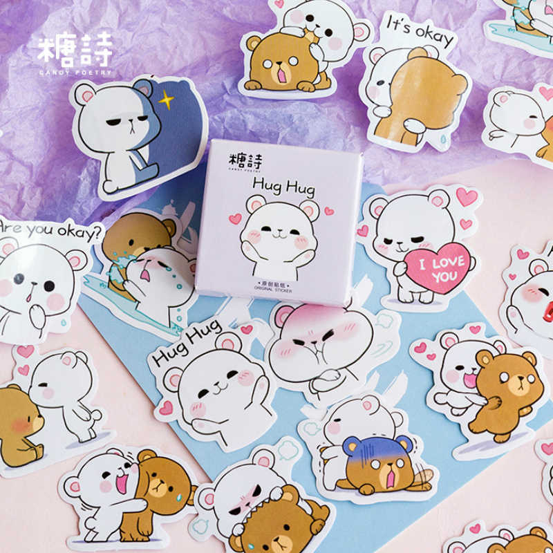 40 Pcs Pack Hug the Bear Toy Stickers for Car Styling Bike Motorcycle Phone Laptop Travel Luggage Cool Funny Sticker Decals