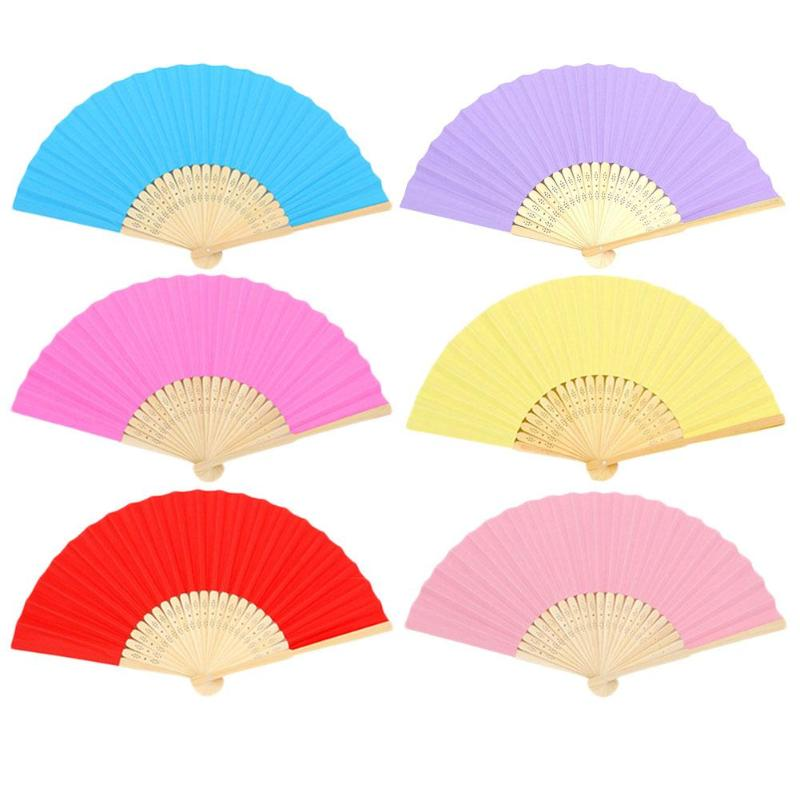 DIY Folding Fan Children Hand Painting Bamboo Kindergarten Supplies Bamboo + Paper Fan Wedding Party Home Decoration 38X21cm