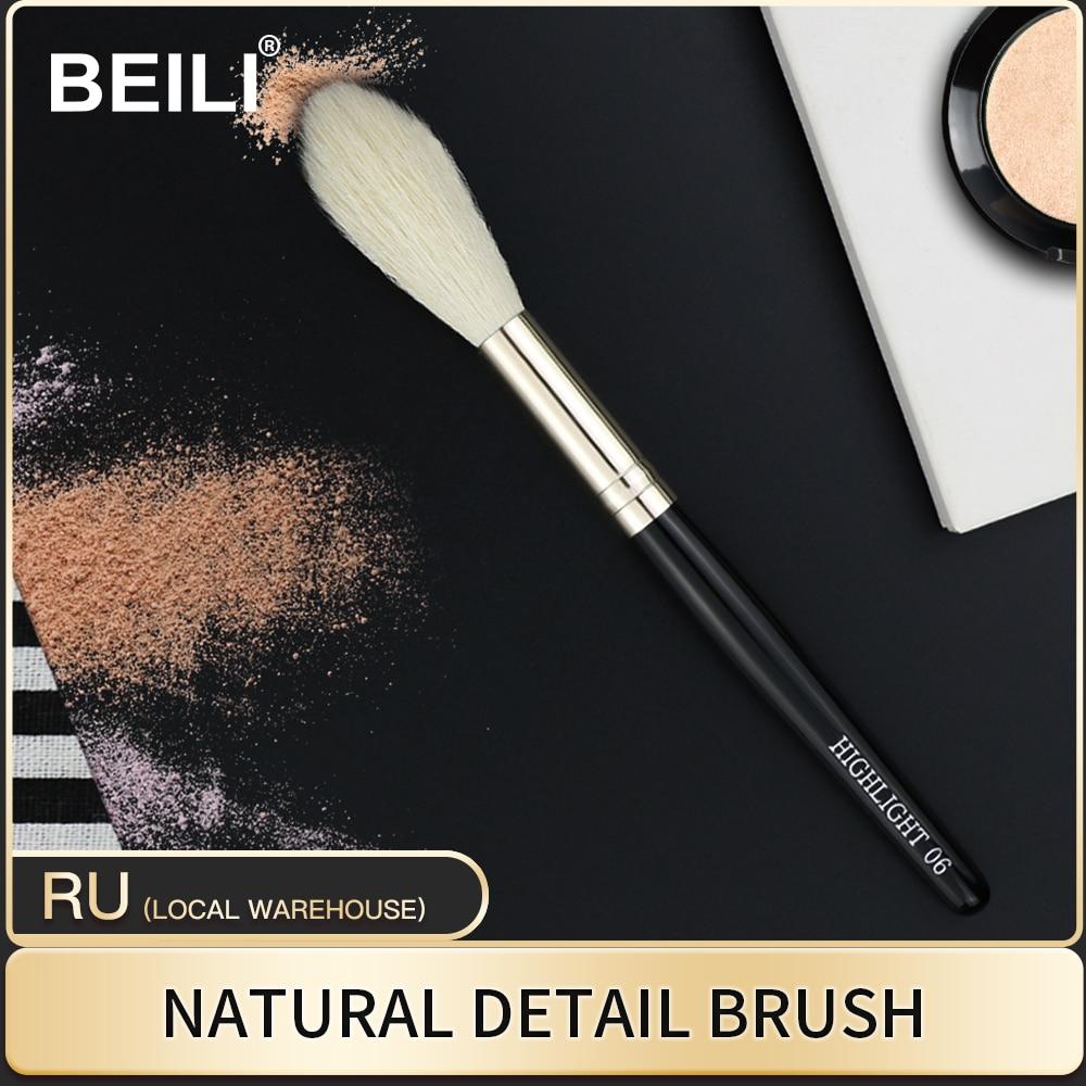 BEILI 1 pcs 100% Goat hair Highlighter Black Makeup Brushes Professional Natural Pony Eyeshadow Blush Eyebrow Make up Brushes