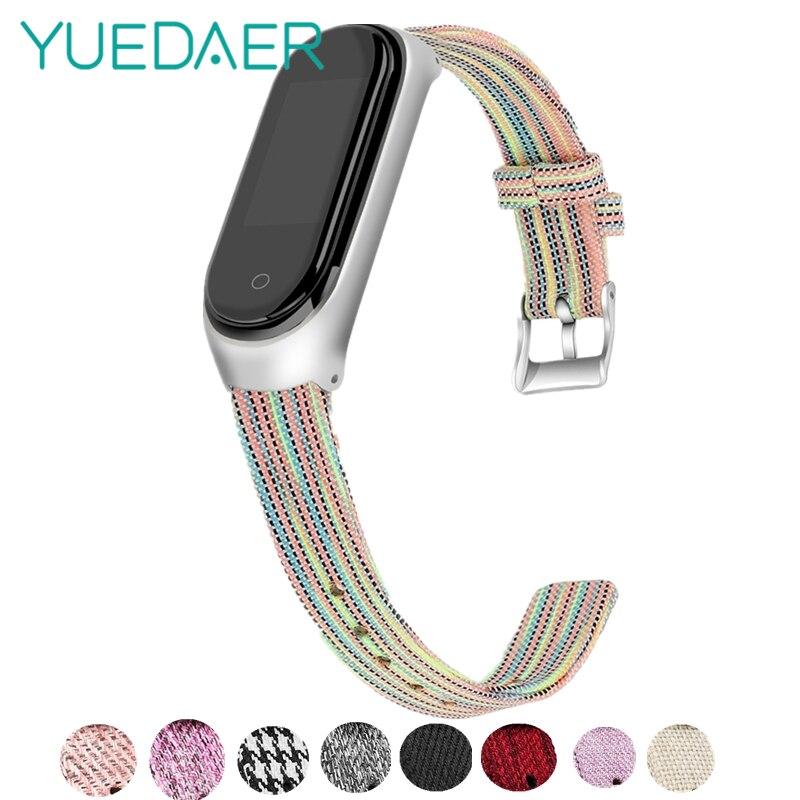 YUEDAER Colorful Canvas Nylon Strap For Xiaomi Mi Band 4 Rainbow Fabric Bracelet + Metal Case Protective For Mi Band 4 Wristband