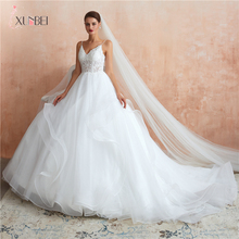 Vestidos De Noiva In Stock New Arrivals White Wedding Dresses Sexy Deep V-neck Lace Organza UpBridal Gown Bride  CPS1437