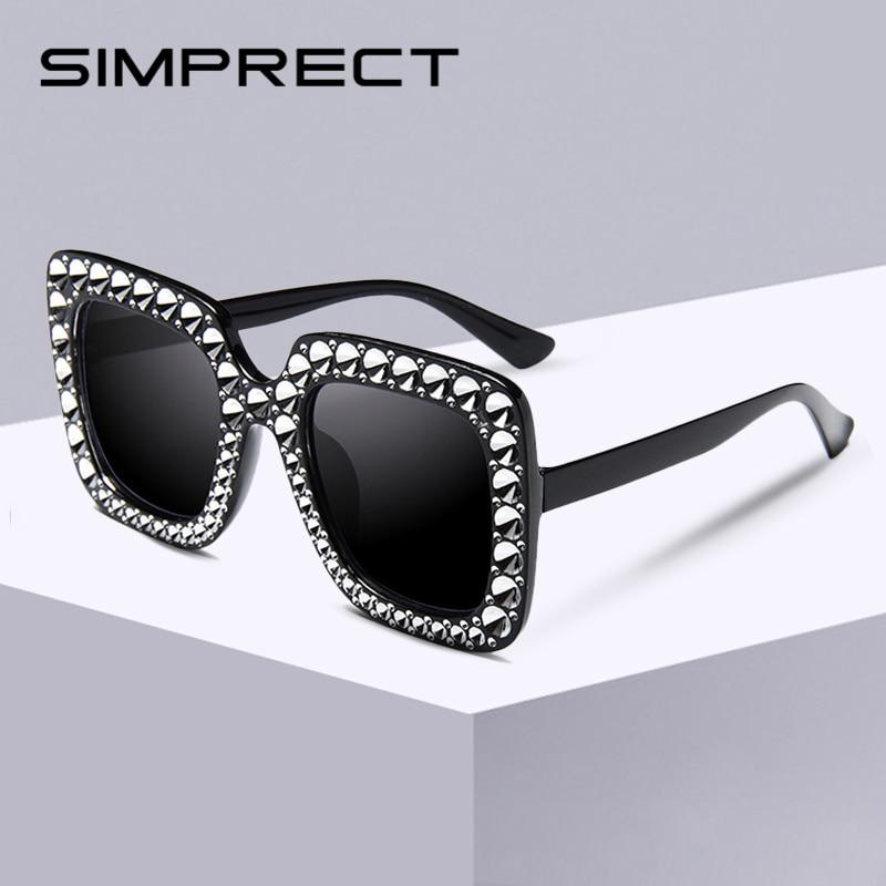 SIMPRECT kare boy güneş gözlüğü kadın 2019 Retro güneş Vintage büyük ayna güneş gözlüğü tonları kadınlar için Zonnebril Dames