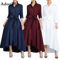 Autumn Irregular Long Shirt Women Dress Turn down Collar Solid A line Button Lace Up Bandage Elegant Office Lady Shirts Dress