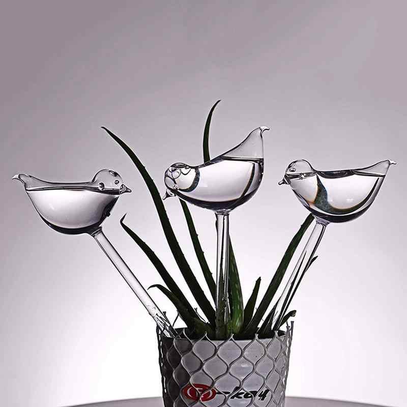 Vendita Calda 3 Pack Pianta Waterer di Auto Irrigazione Globi, Forma di Uccello Soffiato a Mano in Vetro Trasparente Aqua Lampadine