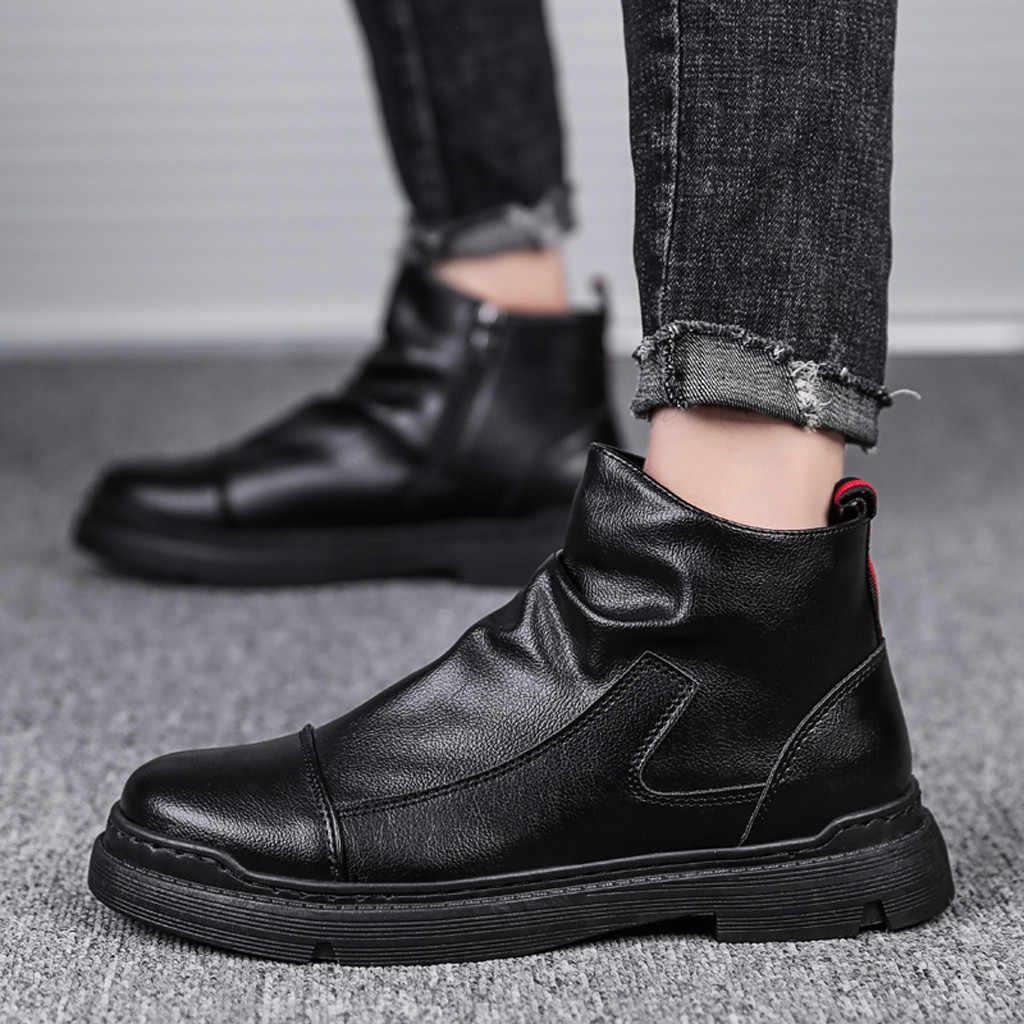 男性のファッション Pu レザーレトロ作業ブーツシンプルな黒固体サイドジッパーハンサムブーツレトロブーツ Bota Ş デ Hombre