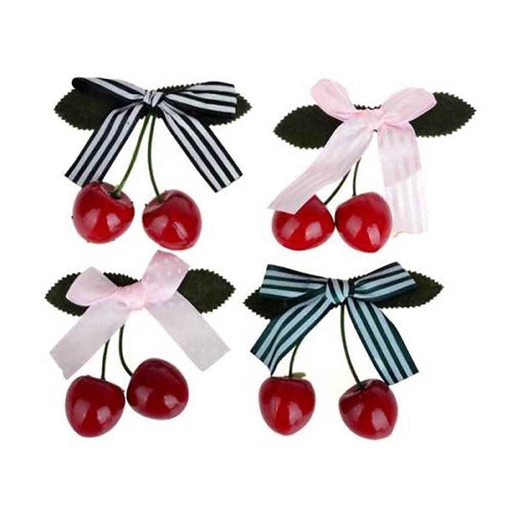 Hot Women Girl Lady Bow Cherry Hair Clip Headwear Hairpin Barrettes Kawaii Hair Accessories Decoration