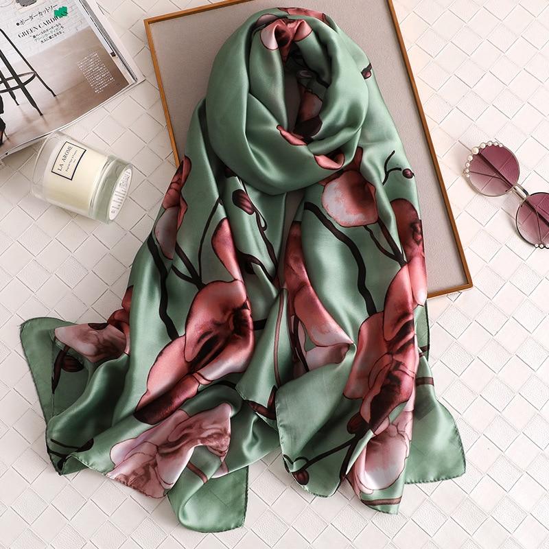 2020 China Luxury Brand Four Seasons New Fashion Women Large Scarf Ladies Shawl Flowers Print Beach Beautiful Silk Wraps Hijab