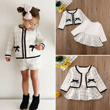 Frühling Herbst 2PCS Kind Baby Mädchen Kleidung Sets Plaid Jacken Mantel + Langarm A-Line Prinzessin Kleid Geburtstag Party prom Outfits(China)