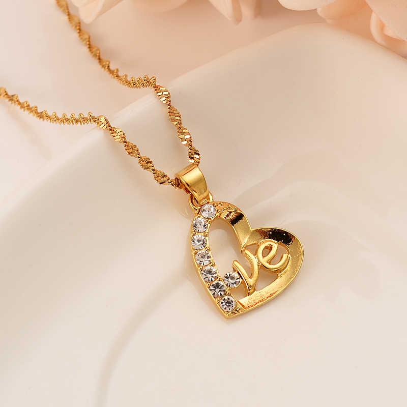 Gold Farbe Herz Form cz kristall Schmuck sets Anhänger Halsketten Frauen, Afrikanische Schmuck hochzeit braut party Jahrestag geschenke