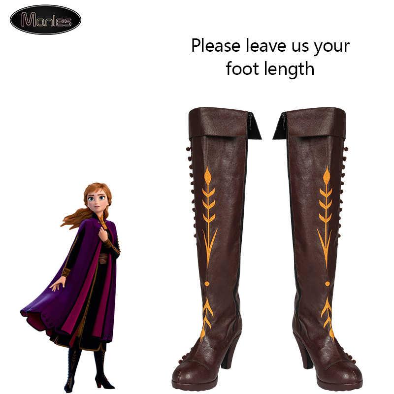Queen Elsa หิมะน้ำแข็งเจ้าหญิงแอนนาแช่แข็ง 2 เครื่องแต่งกายคอสเพลย์ผู้ใหญ่รองเท้ารองเท้าฮาโลวีนเข่า-สูงส้นสูง GIRL