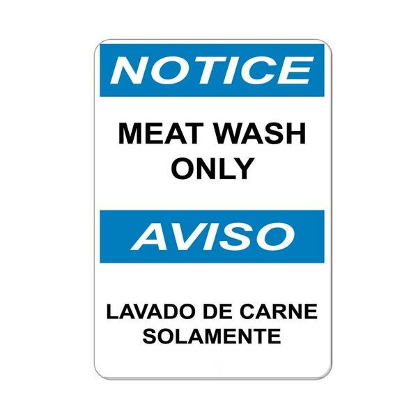Aviso de lavagem de carne apenas aviso lavado de carne solamente alumínio metal sinal retro parede casa bar pub vintage cafe decoração, 8x12 Polegada
