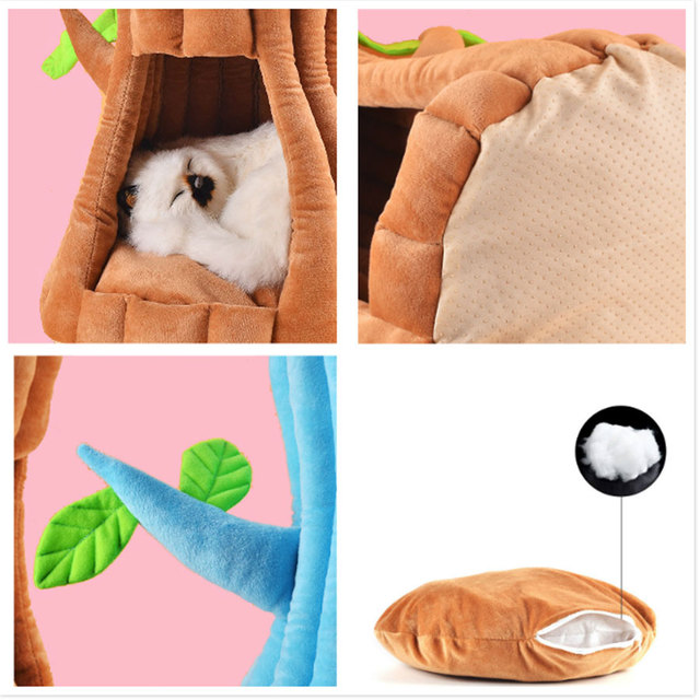 Cat bed Cute Tree Nest Deep Sleep Cat house Winter Warm comfort cat cave Lounger Cushion Couch Sofa Mat Pet Supplies  My Pet World Store