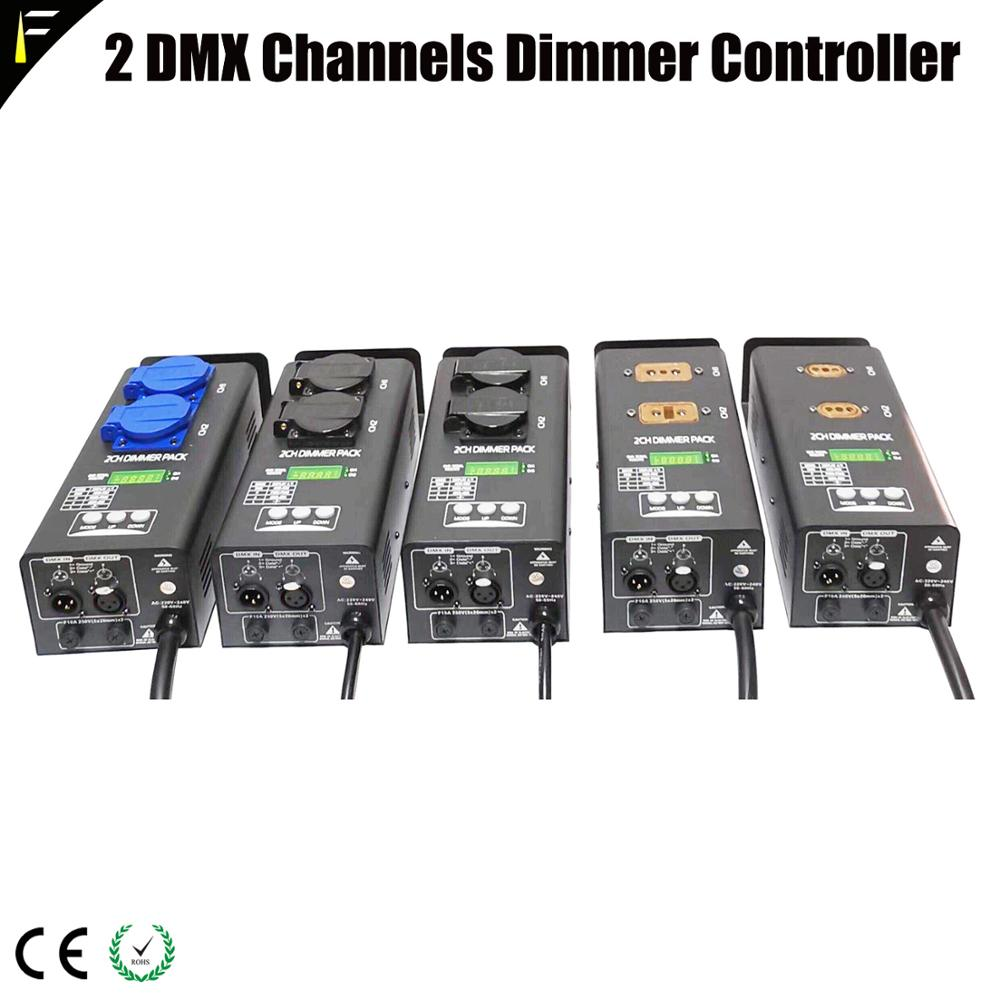 Simple 2 Channels DMX 512 Dimmer Pack 2ch Stage Light Performance Equipment Linear Dimming Controller Pack EU/US/AU/UK Socket