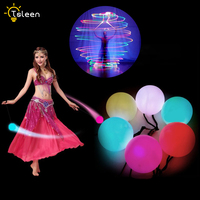 1/2/4 قطعة LED POI القيت كرات متعدد الألوان الكرة ل المهنية الرقص الشرقي مستوى اليد الدعائم المرحلة أدوات الأداء اكسسوارات