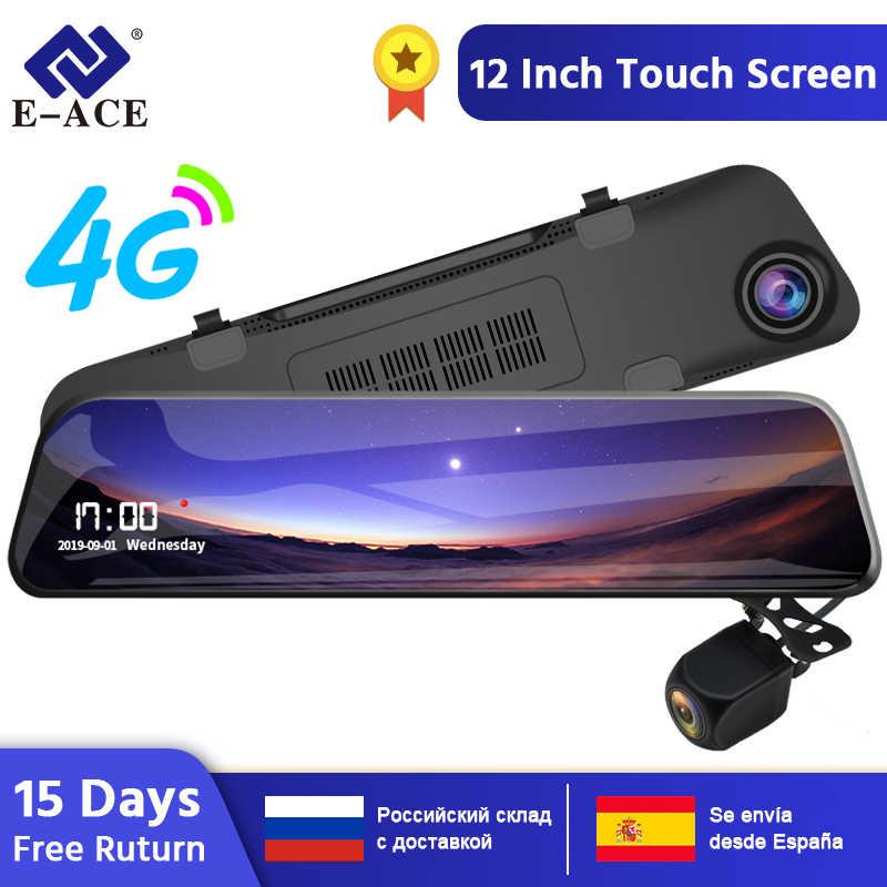 E-ACE جهاز تسجيل فيديو رقمي للسيارات 12 بوصة تدفق مرآة الرؤية الخلفية 4G أندرويد لتحديد المواقع والملاحة داش كام FHD 1080P السيارات مسجل فيديو مسجل
