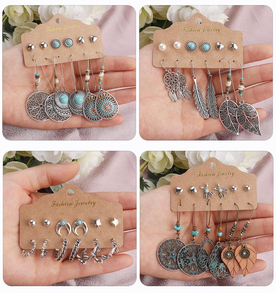 Bohemia Silver Earrings Set Vintage Ethnic Long Round Leaf Tassel Wedding Water Drop Earrings for Women Girls Statement Jewelry (167)