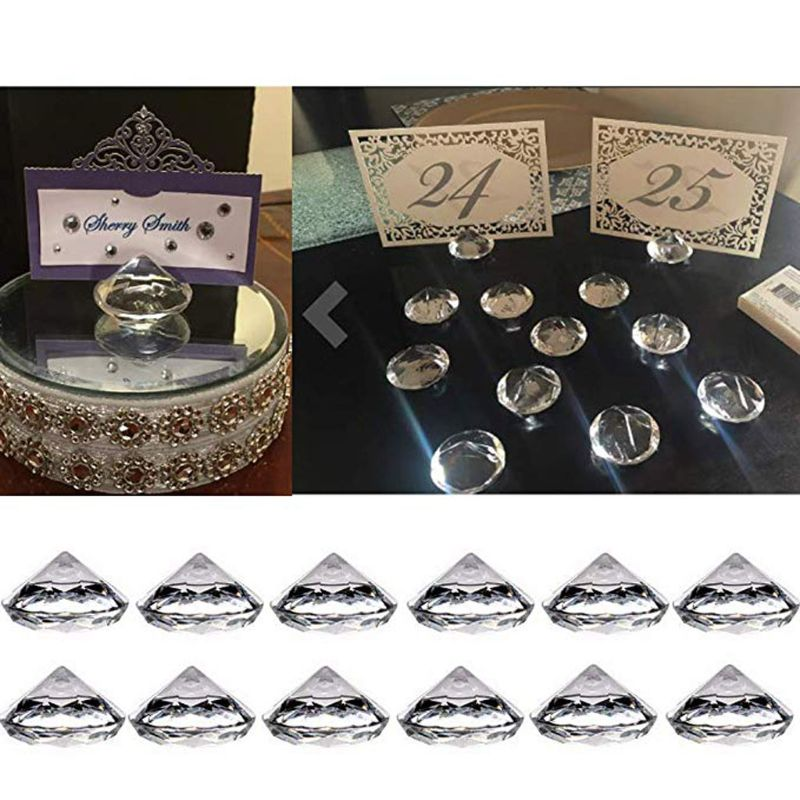 30Pcs Acrylic Diamond Table Number Name Card Holder Party Wedding Table Decor
